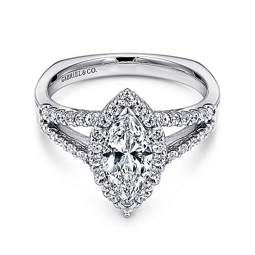 Gabriel - Drew 14k White Gold Marquise  Halo Engagement Ring