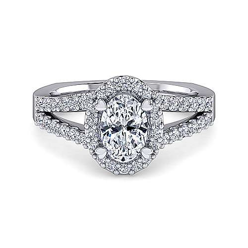 Gabriel - Drew 14k White Gold Oval Halo Engagement Ring