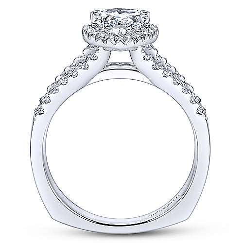 Drew 14k White Gold Pear Shape Halo Engagement Ring angle 2