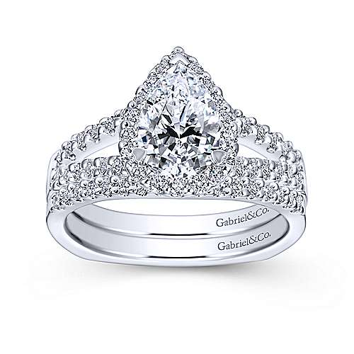 Drew 14k White Gold Pear Shape Halo Engagement Ring angle 4