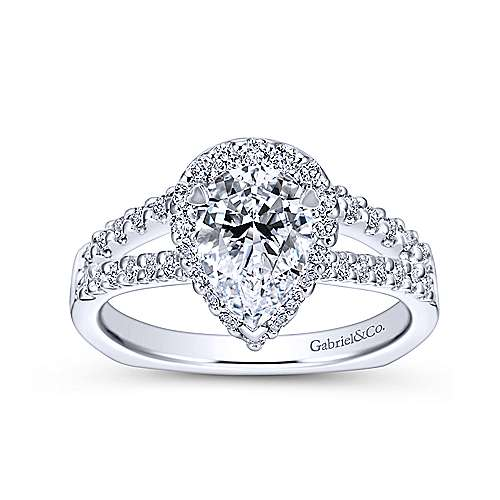 Drew 14k White Gold Pear Shape Halo Engagement Ring angle 5