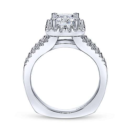 Drew 14k White Gold Princess Cut Halo Engagement Ring angle 2
