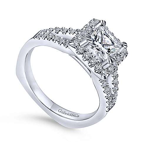 Drew 14k White Gold Princess Cut Halo Engagement Ring angle 3