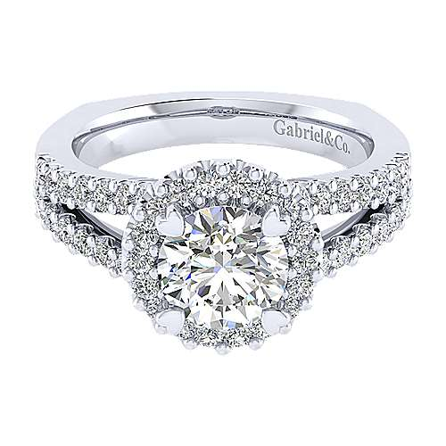 Gabriel - Drew 14k White Gold Round Halo Engagement Ring