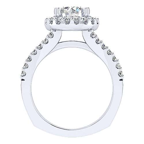 Drew 14k White Gold Round Halo Engagement Ring