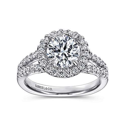 Drew 14k White Gold Round Halo Engagement Ring angle 5