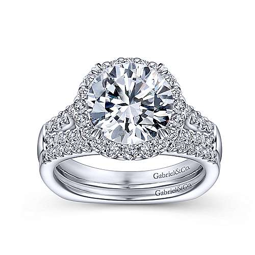 Drew 14k White Gold Round Halo Engagement Ring angle 4
