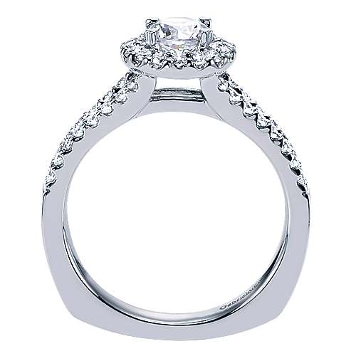 Drew 14k White Gold Round Halo Engagement Ring angle 2
