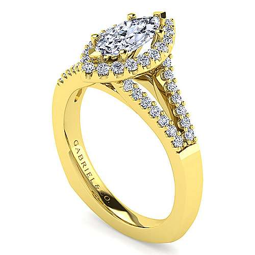 Drew 14k Yellow Gold Marquise  Halo Engagement Ring angle 3