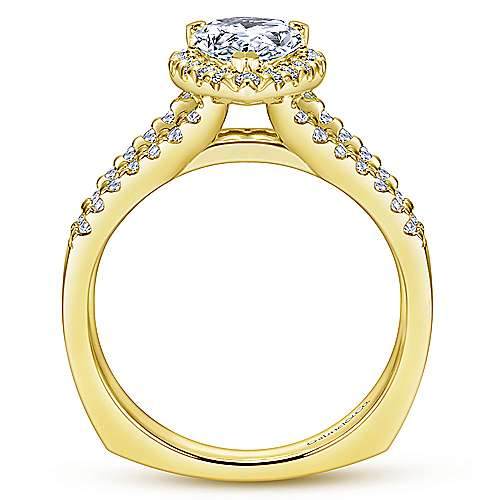 Drew 14k Yellow Gold Pear Shape Halo Engagement Ring angle 2