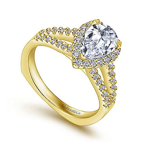 Drew 14k Yellow Gold Pear Shape Halo Engagement Ring angle 3