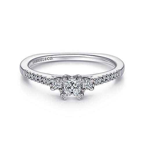Gabriel - Duke 14k White Gold Princess Cut 3 Stones Engagement Ring