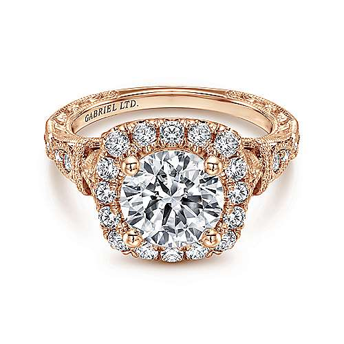 Gabriel - Dulce 18k Rose Gold Round Halo Engagement Ring