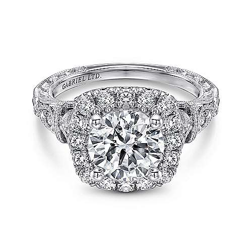 Gabriel - Dulce 18k White Gold Round Halo Engagement Ring