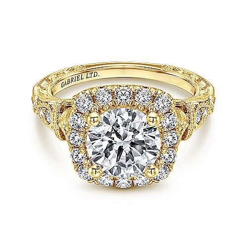 Gabriel - Dulce 18k Yellow Gold Round Halo Engagement Ring