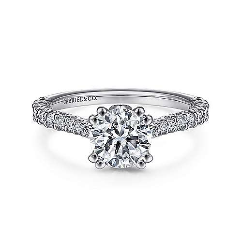Ebony 18k White Gold Round Straight Engagement Ring angle 1