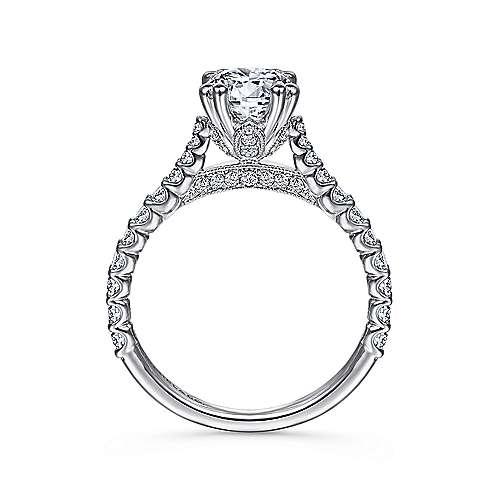 Ebony 18k White Gold Round Straight Engagement Ring angle 2