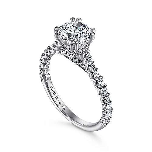 Ebony 18k White Gold Round Straight Engagement Ring angle 3