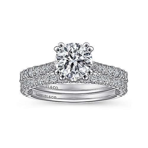 Ebony 18k White Gold Round Straight Engagement Ring angle 4
