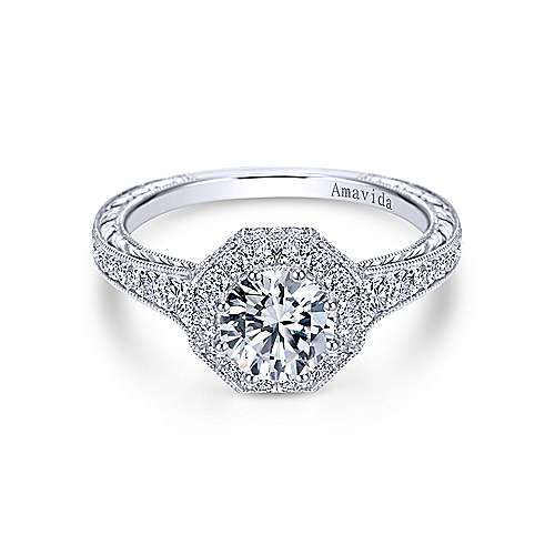 Gabriel - Edie Platinum Round Halo Engagement Ring