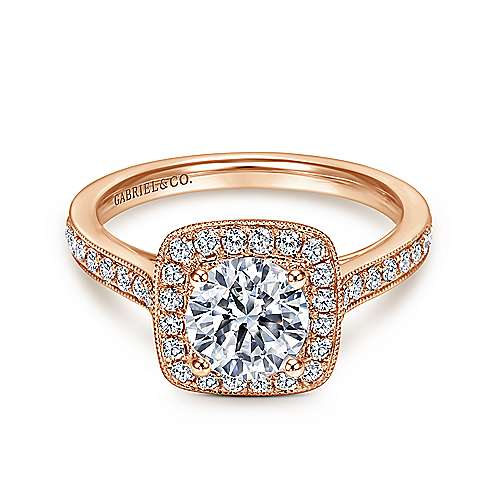 Gabriel - Edith 14k Pink Gold Round Halo Engagement Ring