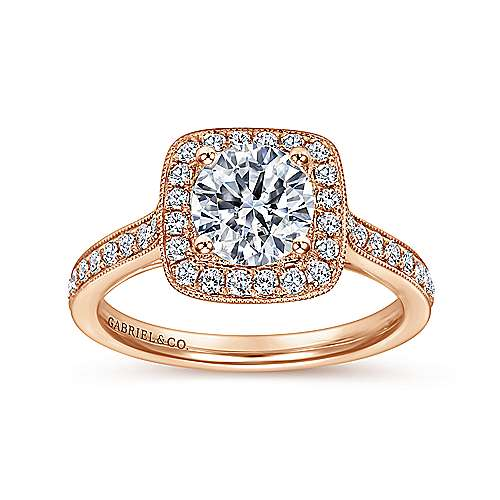 Edith 14k Rose Gold Round Halo Engagement Ring angle 5