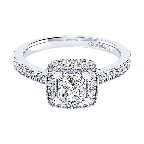 Edith 14k White Gold Princess Cut Halo Engagement Ring angle 1