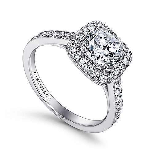 Edith 14k White Gold Round Halo Engagement Ring angle 3
