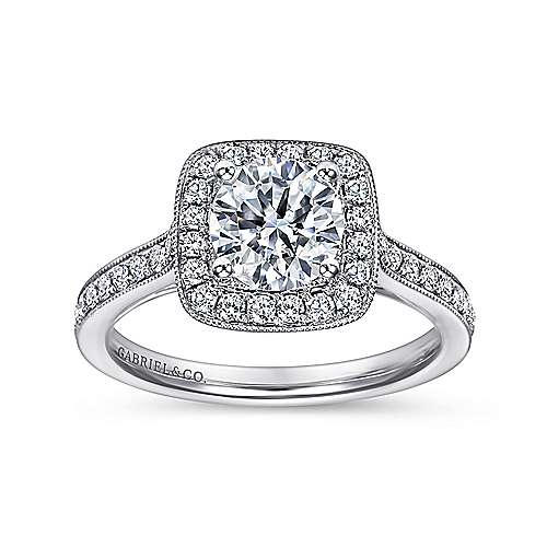 Edith 14k White Gold Round Halo Engagement Ring angle 5