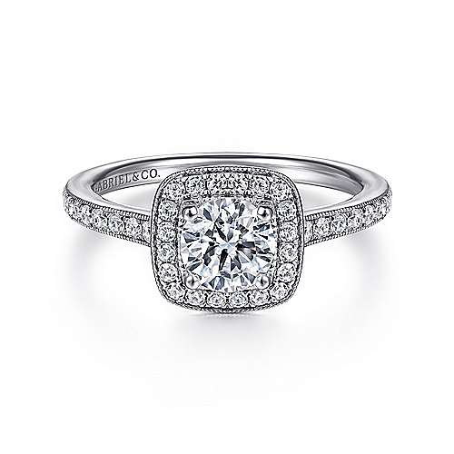 Gabriel - Edith 14k White Gold Round Halo Engagement Ring