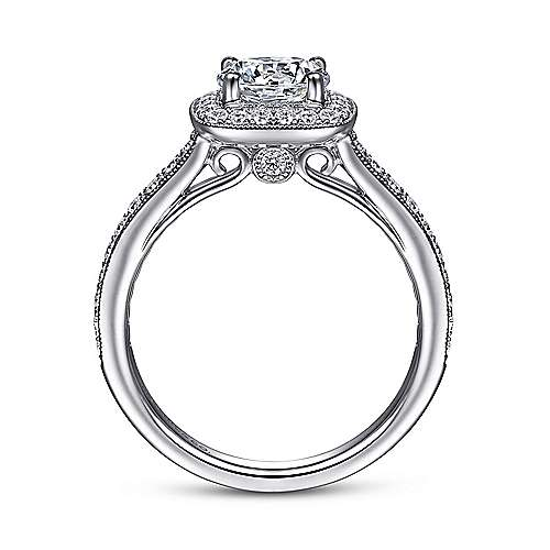 Edith 14k White Gold Round Halo Engagement Ring angle 2