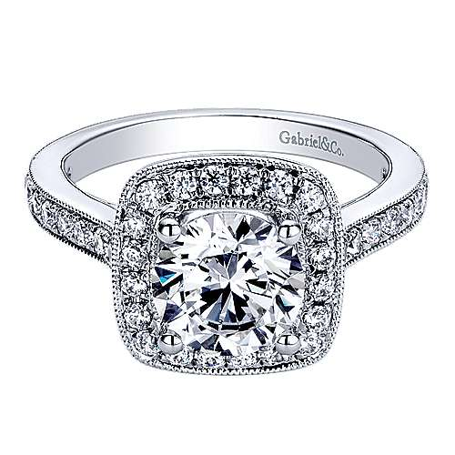Edith 14k White Gold Round Halo Engagement Ring angle 1