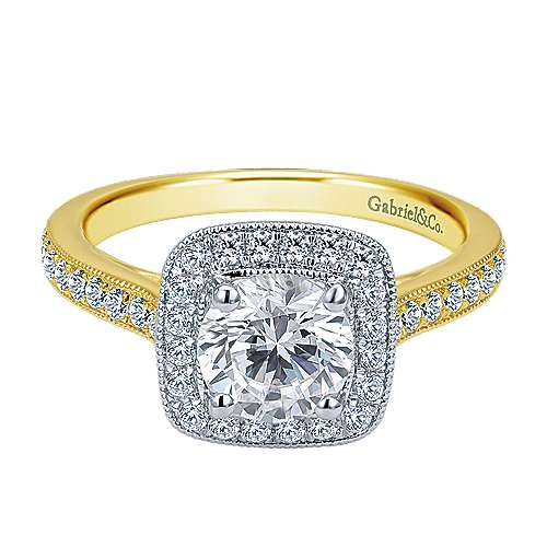Gabriel - Edith 14k Yellow And White Gold Round Halo Engagement Ring