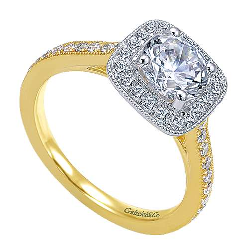 Edith 14k Yellow And White Gold Round Halo Engagement Ring angle 3