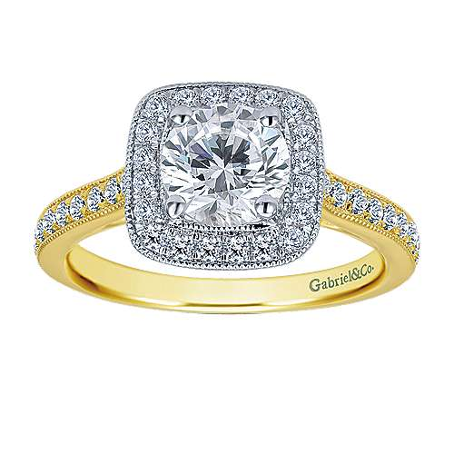Edith 14k Yellow And White Gold Round Halo Engagement Ring angle 4