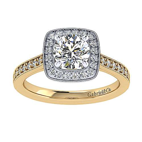 Edith 14k Yellow And White Gold Round Halo Engagement Ring angle 5