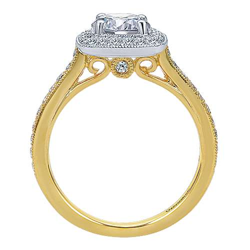 Edith 14k Yellow/white Gold Round Halo Engagement Ring angle 2