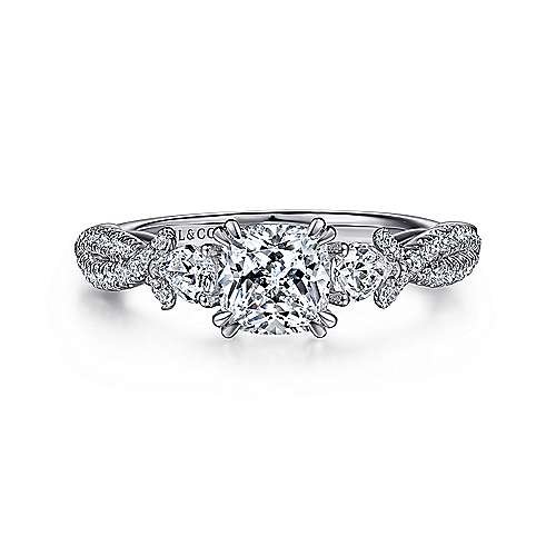Gabriel - Edlynn 14k White Gold Cushion Cut 3 Stones Engagement Ring