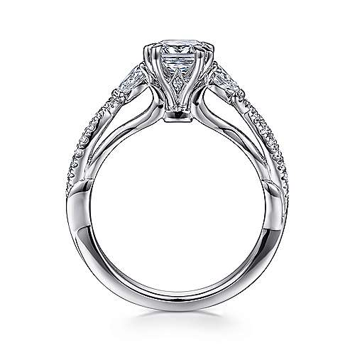 Edlynn 14k White Gold Cushion Cut 3 Stones Engagement Ring angle 2