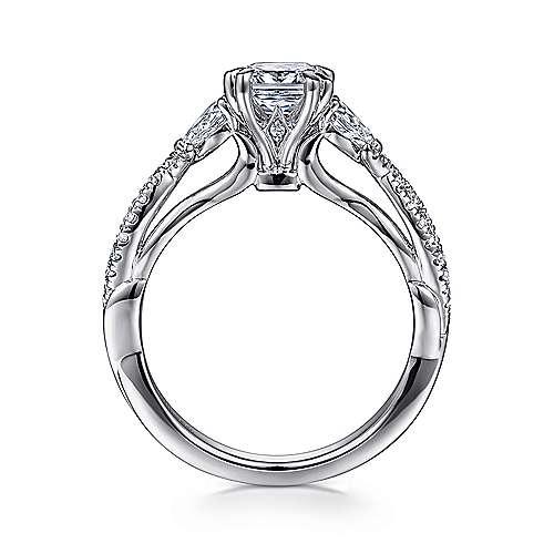 Edlynn 14k White Gold Cushion Cut 3 Stones Engagement Ring angle 2