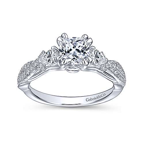 Edlynn 14k White Gold Cushion Cut 3 Stones Engagement Ring angle 5