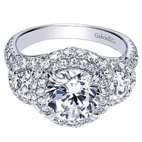 Gabriel - Edna 18k White Gold Round Halo Engagement Ring