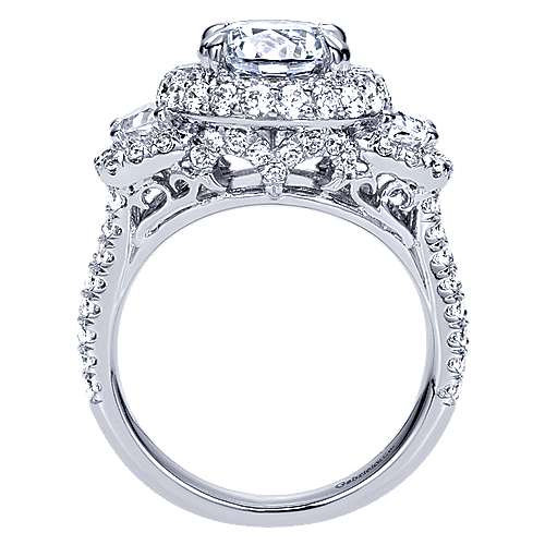 Edna 18k White Gold Round Halo Engagement Ring angle 2