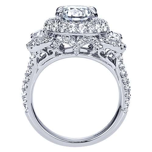 Edna 18k White Gold Round Halo Engagement Ring