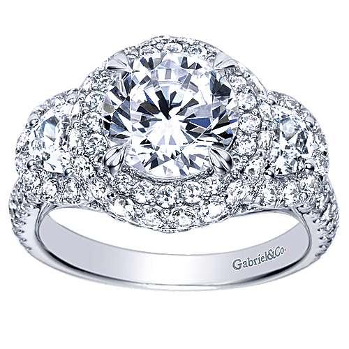 Edna 18k White Gold Round Halo Engagement Ring angle 5