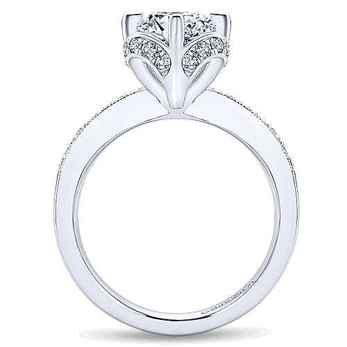 Edwina 14k White Gold Round Halo Engagement Ring