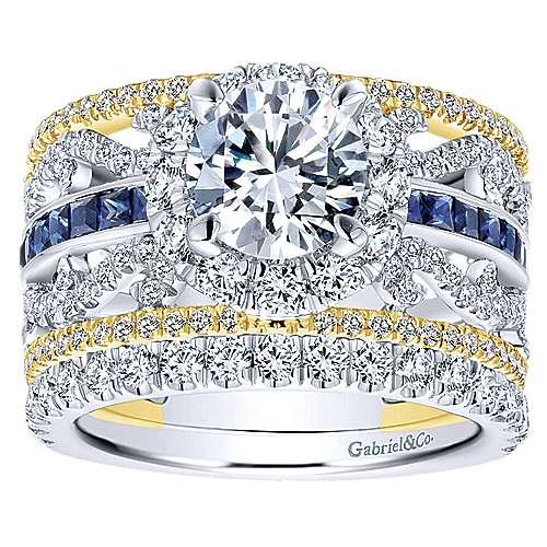 Efron 18k Yellow And White Gold Round Halo Engagement Ring angle 4