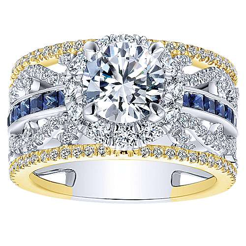 Efron 18k Yellow And White Gold Round Halo Engagement Ring angle 5