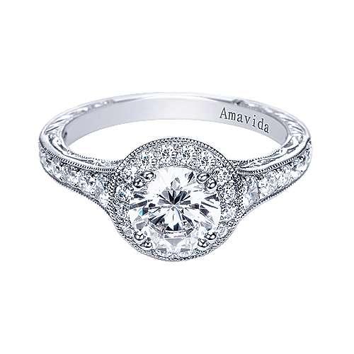 Gabriel - Egypt Platinum Round Halo Engagement Ring