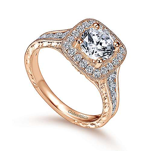 Elaine 14k Pink Gold Round Halo Engagement Ring angle 3